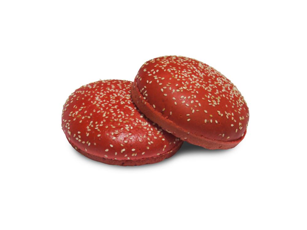 Булочка для гамбургера 100 мм (красная) с кунжутом 52 гр