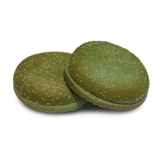 Булочка для гамбургера 100 мм (зеленая) с кунжутом 52 гр